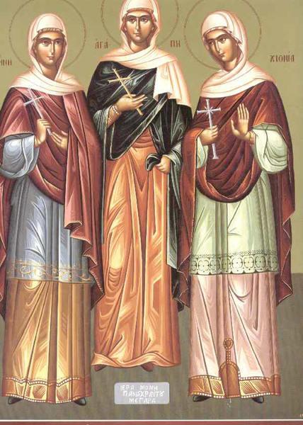 Sfintele Mucenite Agapi, Hionia si Irina