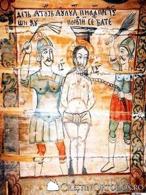Biserica de lemn din Baita - Soldati batandu-L pe Hristos
